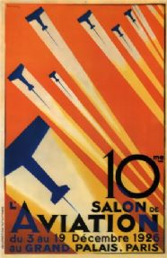 Vintage Travel Poster Salon de l'Aviation de Valerio Paris